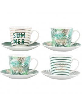Set 4 Tazze + 4 Piattini Hello Summer HOFF-INTERIEUR 4977