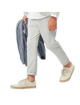Pantalone iDO in felpina stretch, fantasia all over micro pois, estremamente com