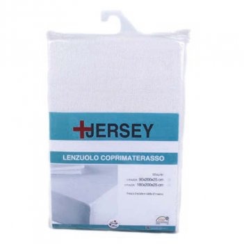 Coprimaterasso Lenzuolo 90X200 Jersey Bianco Singolo