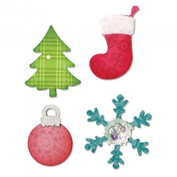 Fustella Bigz Albero Di Natale Ornamenti Fiocco Di Neve Calza SIZZIX A10599
