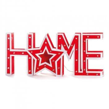 Scritta Red Home Con LED Luminosa 37X16X3cm