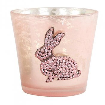 Portacandela Rabbits Coniglio Glitter HOFF-INTERIEUR 8660 Pasqua