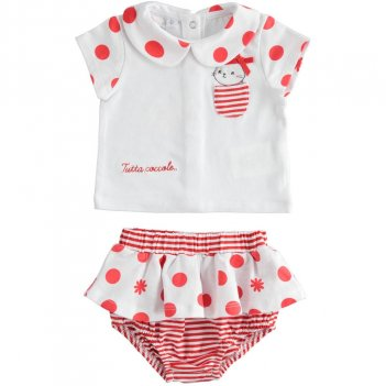 Completo Neonata T-Shirt e Culotte Effetto Gonna iDO 4J14400