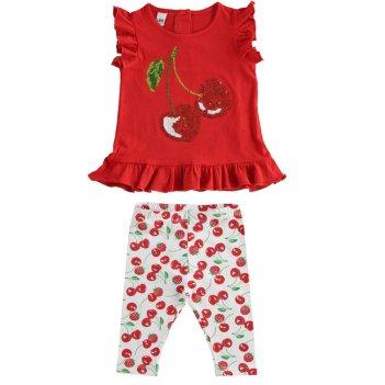 Completo Bambina Due Pezzi Con T-Shirt Manica Ad Aletta iDO 4J78200