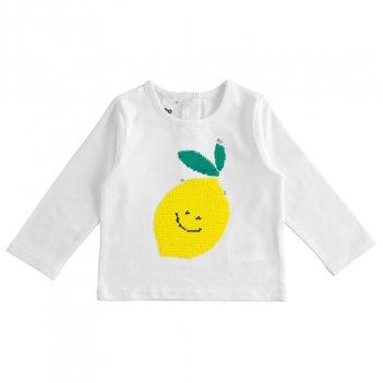 T-Shirt Bambina manica lunga in cotone con paillettes gira e brilla iDO 4J32400