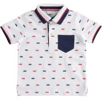 Polo Bambino in jersey 100% cotone con stampa autobus