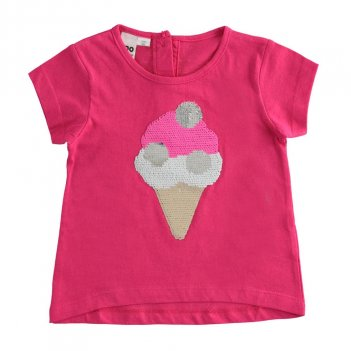 T-Shirt Bambina 100% cotone con gelato di paillettes iDO 4J76700