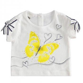 T-shirt bambina in cotone con grafica farfalla con strass iDO 4J32200