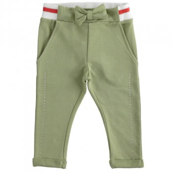 Pantalone Bambina in felpa con strass e costina rigata iDO 4J33900