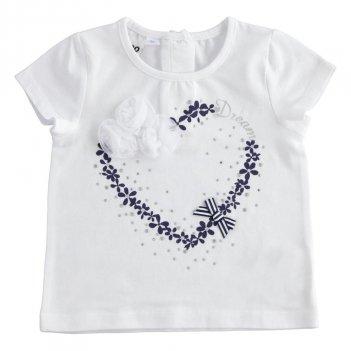 T-Shirt Bambina mezza manica in cotone con romantica stampa iDO 4J75500