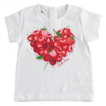 T-Shirt Bambina manica corta in cotone stretch con strass iDO 4J75900