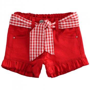 Shorts Bambina in twill leggero di cotone stretch iDO 4J77100