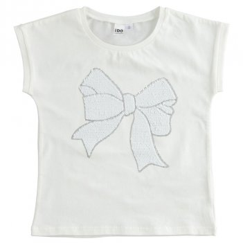 T-shirt Bambina in cotone stretch con fiocco in paillettes reversibili iDO 4J490