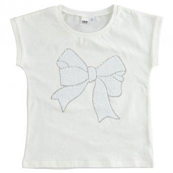 T-shirt Bambina in cotone stretch con fiocco in paillettes reversibili iDO 4J490
