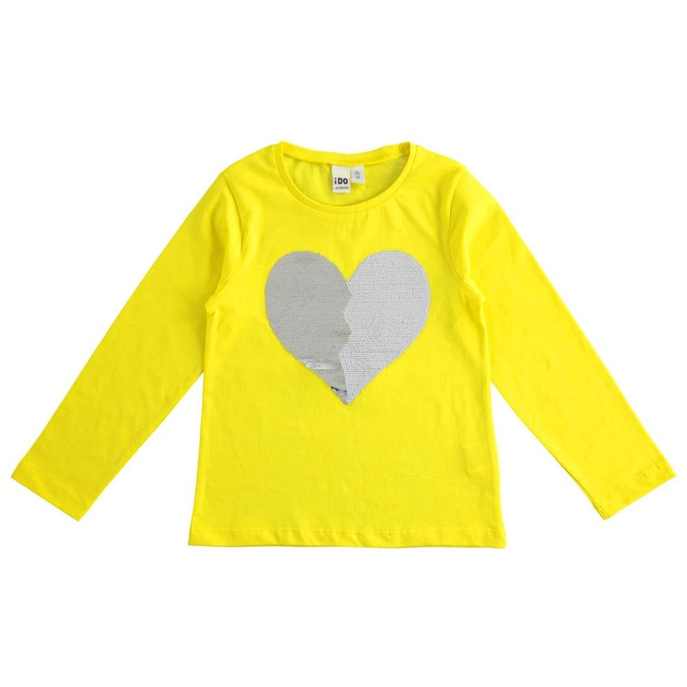 Maglietta Bambina manica lunga con cuore di paillettes reversibili iDO 4J51000