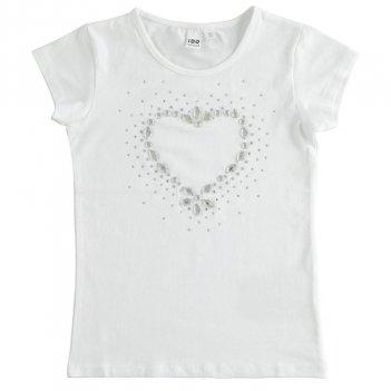T-Shirt a manica corta in cotone con cuore con strass iDO 4J86100