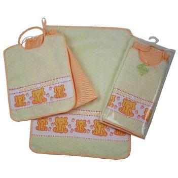 Set Asilo Elegante Bavaglino con elastico + Asciugamano + Sacca 100% Cotone