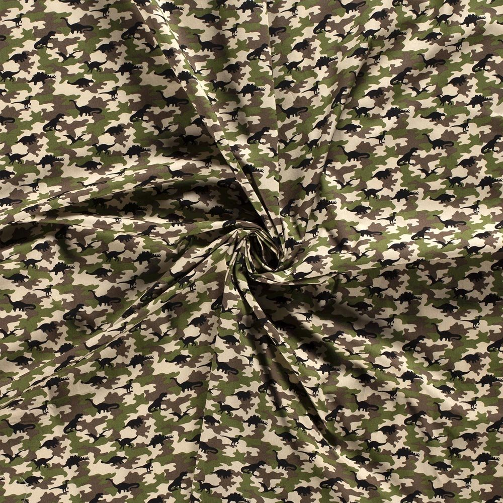 Tessuto 15800 Popeline Dinosaurs Camouflage Altezza 140cm 115 g/m2