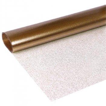 Tessuto Glitter Trasparente Oro Altezza 140cm PVC